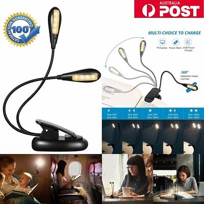 Portable Travel LED Clamp Reading USB Book Light Dual-Head Rechargeable Eye-Care