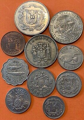 CARIBBEAN CENTRAL AMERICAN COIN Lot (1) 1966-1981 MEXICO JAMAICA DR BAHAMAS