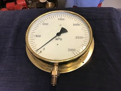 Antique HC brass KPA pressure Guage 255 mm across face possibly rail