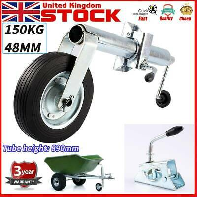 150KG Trailer Jockey Wheel 48mm Shaft Tyre +Split Clamp for Trailers / Caravans