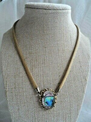Vintage Gold Tone Mesh Chain with Abalone / Paua Shell Pendant