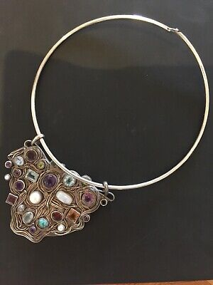 Hallmarked Handmade Sterling Silver Choker Necklace With Multiple Gem Pendant