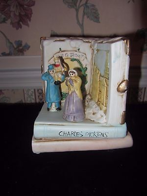 Porcelain Music Box Figurine w Ebenezer Scrooge Tiny Tim on Charles Dickens Book