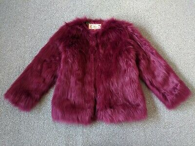 Ted Baker Girls Magenta Berry Faux Fur Coat - Size Age 11 Years RRP£60