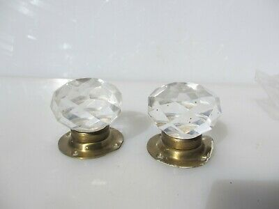 Late Vintage Door Knobs Handles Cut Glass RESIN Crystal Brass Plates Retro Old