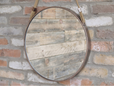 Round Industrial Copper Rope Hanging Mirror