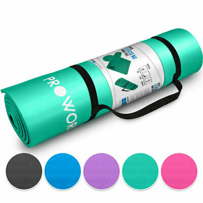 Proworks Non Slip Green Yoga Mat Pilates Exercise Gym Mat with Carry Strap