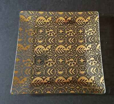 Mid Century Modern Georges Briard Glass Square Plate - Retro Gold Atomic Design
