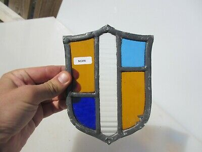 Vintage Stained Glass Window Panel Architectural Antique Old Shield Family Crest