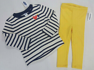 NWT Old Navy Girls Size 2 2t Blue Striped Heart Tunic Top & Yellow Leggings