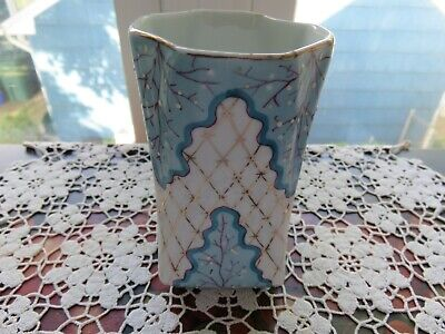 Antique Porcelain Germany Small Vase Blue White Gold Crossed Swords