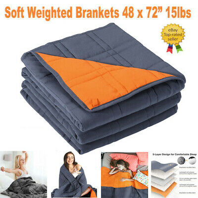"Weighted Blanket 48 x 72"" 15lbs Gravity Blankets Sensory Sleep Reduce Anxiety"