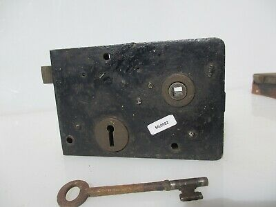 Victorian Iron Door Lock Antique Bolt Old Key Vintage French Georgian Chateau