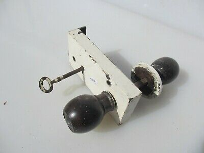 Victorian Iron Door Lock Antique Bolt Old Key Vintage Wooden Knobs