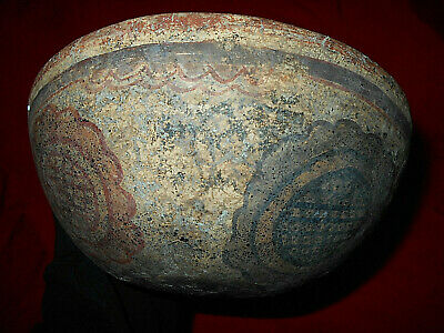 pre columbian mayan painted bowl, fine maya  classic piece geometric designs