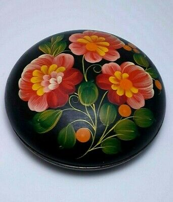 Vintage Art Deco Style USSR Hand Painted Soviet Jewelry Wooden Box