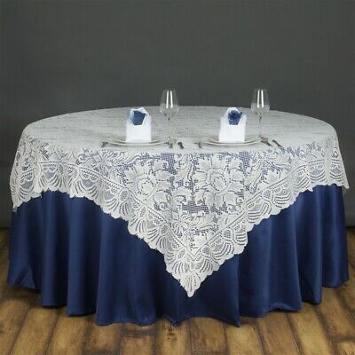 """72x72"""" Ivory LACE Table Overlay with LARGE FLOWERS Wedding Party Catering Linens"""