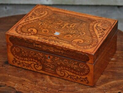 Decorative Early Victorian rosewood & satinwood marquetry sewing box, c.1840