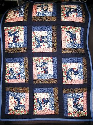 """Log Cabin """"Country Blue"""" Quilt - Infant/Baby - Crib/Carriage - Handmade"""