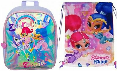 Personalised Childrens Shimmer and Shine Drawstring Canvas Gym// PE// Dance Bag