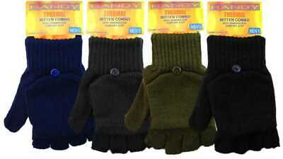 New Mens Thermal Fingerless Combo Acrylic Spandex Mitten Gloves by Handy Glove