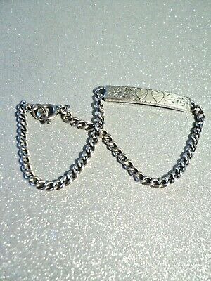 Vintage Wells .925 Sterling Silver ID Bracelet   two hearts & flowers inscribed