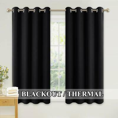 Pencil Pleat Blackout Curtains Thermal Eyelet Top Fully Lined Ring Ready Made