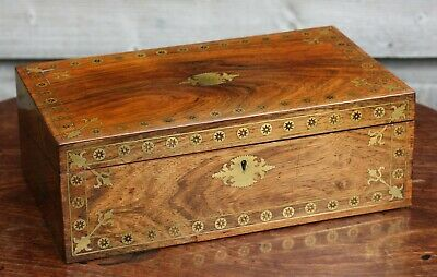 Superb Regency rosewood writing slope box with intricate brass inlay, c.1820