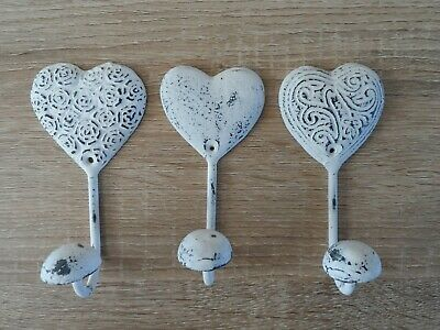 3 White Iron Heart Distressed Vintage Antique Chic Metal Coat Towel Kitchen Hook