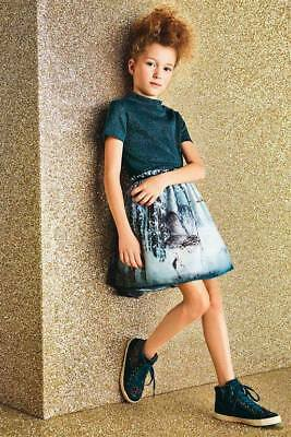 Bnwt Next Green Forest Scene Prom Skirt & Sparkly Top Set Outfit Size 7 Years