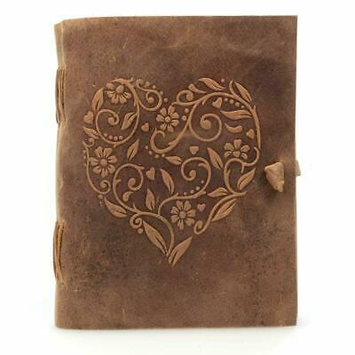 Leather Journal Handmade Bound Notebook Heart Cover 8 X 6 Inches Size For Travel