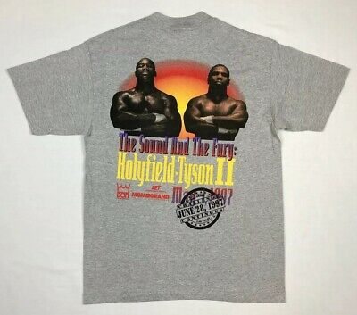 Vtg Mike Tyson vs. Evander Holyfield II Mens T-Shirt Sz Large Sound And Fury 90s