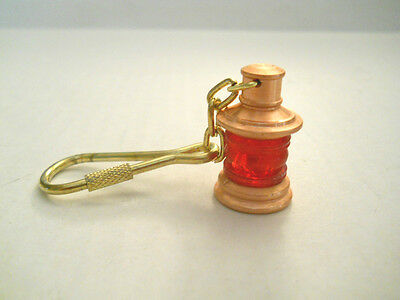 Red Port Copper Colored Lamp Brass Keychain or Nautical Maritime Key Ring New