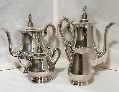 REED & BARTON SILVER PLATE JAMESTOWN COFFEE TEA SERVICE 4 pc SET