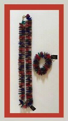 Vintage Tancer & Two Necklace And Bracelet Set - Colorful Acrylic /Lucite - NWT
