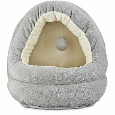 """Harmony Hooded Cave Cat Bed in Grey, 17"""" L x 15"""" W"""