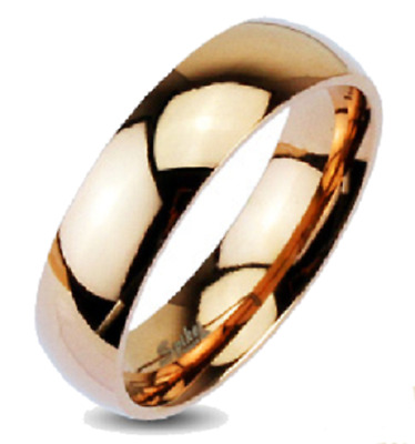 New Stainless Steel Glossy Rose Gold IP Dome 6mm Band Ring  Sizes 5-13