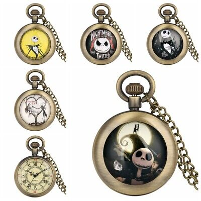 Men Women Pocket Watches Quartz Chain Analog Dial The Nightmare Before Christmas