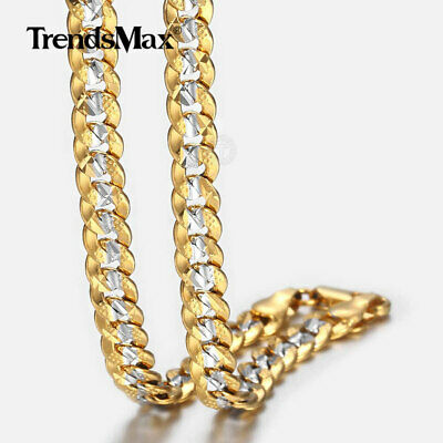 """6mm 18""""-36"""" Silver Gold Filled Curb Cuban Link Chain Necklaces For Men Unisex"""