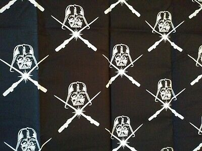 FAT QUARTER  STAR WARS 100% COTTON FABRIC DARK DARTH VADER & SABERS Black  FQ