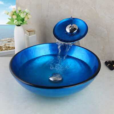 US Tempered Glass Bathroom Blue Painting Vessel Sink Waterfall Mixer Faucet Set