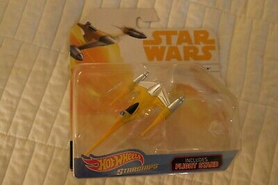 Star Wars Hot Wheels Starships Naboo Starfighter Includes Flight Stand Nip Rare