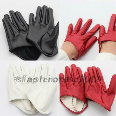 Faux Leather Women's PU Five Finger Half Palm Party Disco Gloves Mittens
