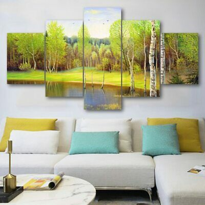 5pcs Modern Scenery Canvas Oil Painting Wall Art Home Decor Picture Print Decor