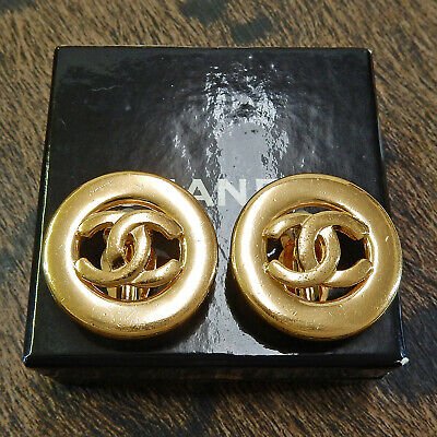 CHANEL Gold Plated CC Logos Vintage Round Clip Earrings #4984a Rise-on