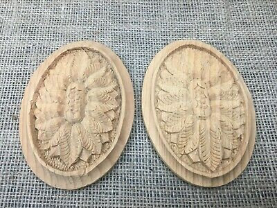 Pair Hand Carved Solid Wooden Ornate Oval Classical Patera