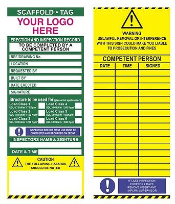 Scaffold.Tags inspection inserts packs 50 with company logo scaffolding