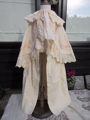 Victorian Edwardian childs cape cream wool broderie anglaise & sartouche