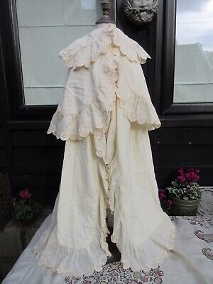 Victorian Edwardian childs cape cream wool with broderie anglaise christening?