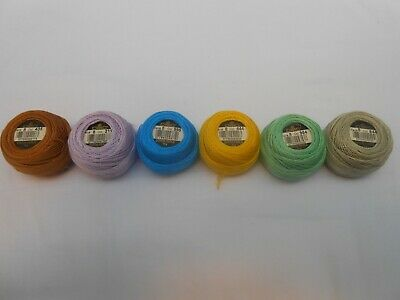 Pack of 6 DMC Perle 8 Cotton Balls Assorted Colours